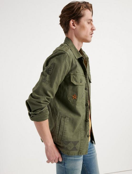MILITARY SCRIBBLE JACKET, 378 OLIVE, productTileDesktop