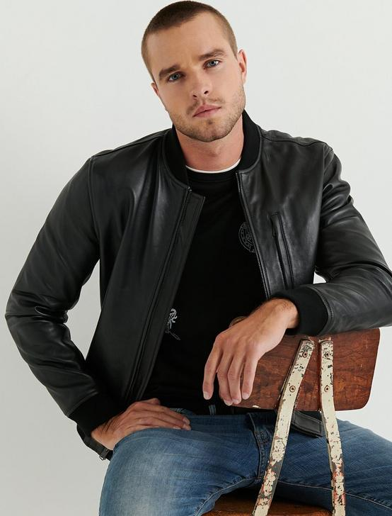 CLEAN LEATHER BOMBER, #001 BLACK, productTileDesktop