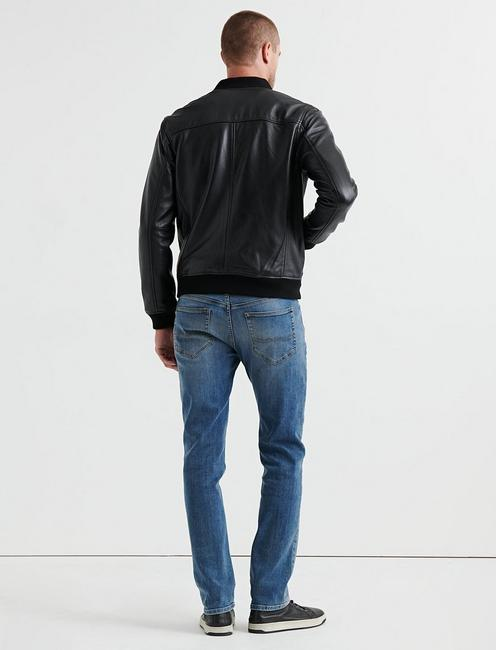 CLEAN LEATHER BOMBER, #001 BLACK