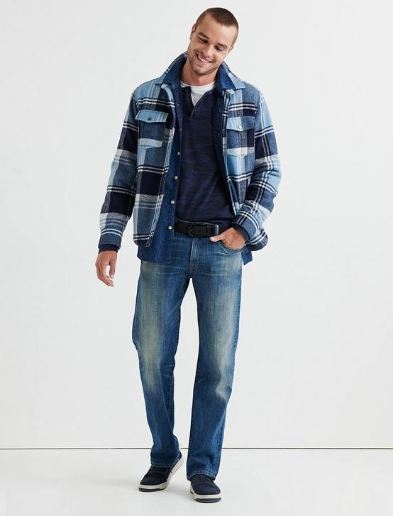 SHERPA LINED PLAID SHIRT JACKET, BLUE PLAID, productTileDesktop
