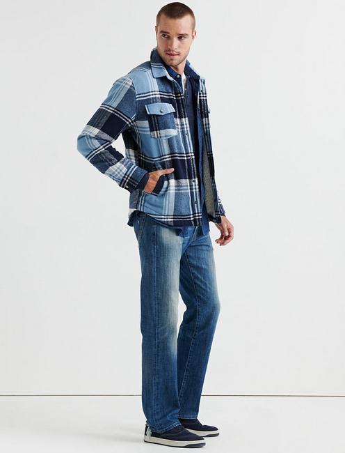 SHERPA LINED PLAID SHIRT JACKET, BLUE PLAID