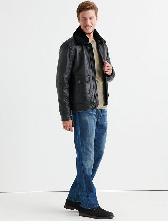 SHEARLING LEATHER JACKET, #001 BLACK, productTileDesktop