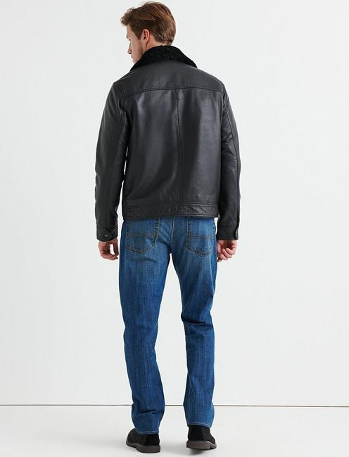 SHEARLING LEATHER JACKET, #001 BLACK