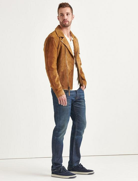 SUEDE BIKER JACKET, DESERT TAN, productTileDesktop