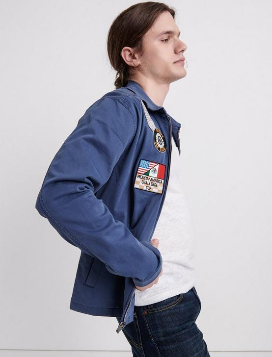 ZIP FRONT RACER JACKET, DARK DENIM, productTileDesktop