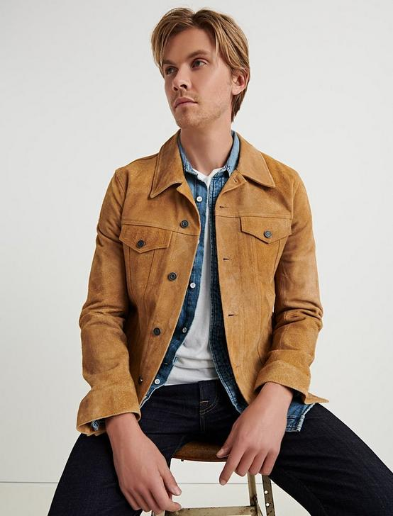 SUEDE TRUCKER JACKET, TOASTED COCONUT, productTileDesktop