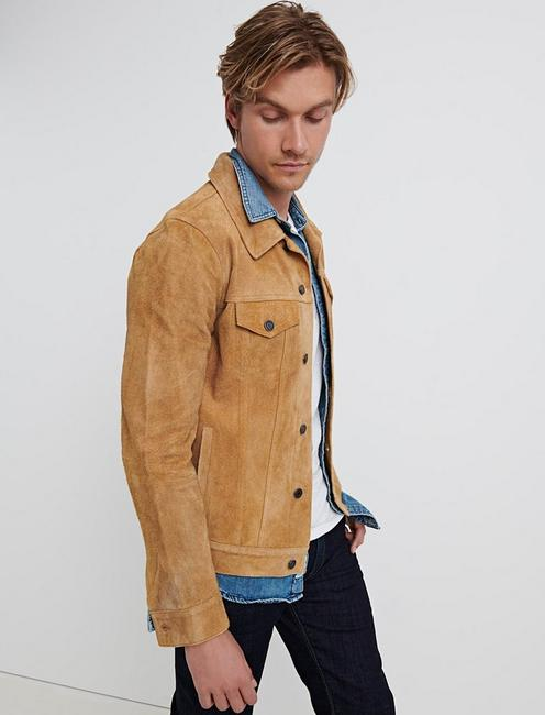 SUEDE TRUCKER JACKET, TOASTED COCONUT