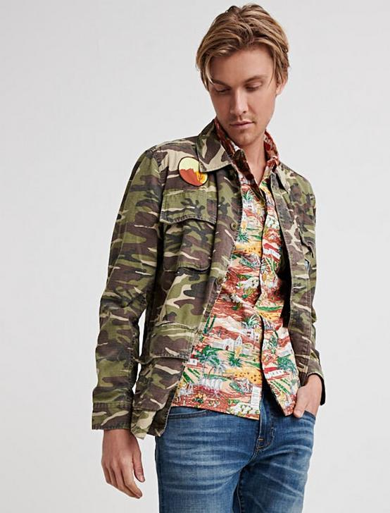 Camo Patchwork Shirt Jacket