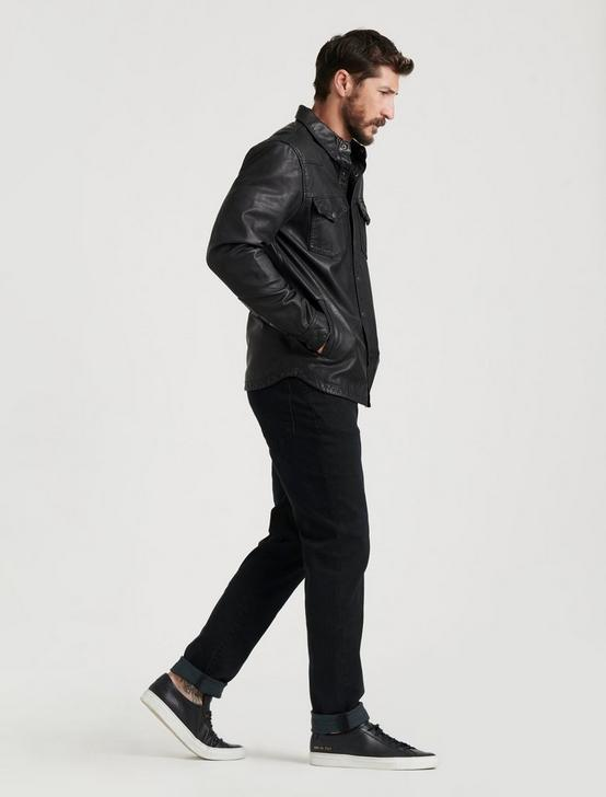 LEATHER WESTERN SHIRT JACKET, #001 BLACK, productTileDesktop