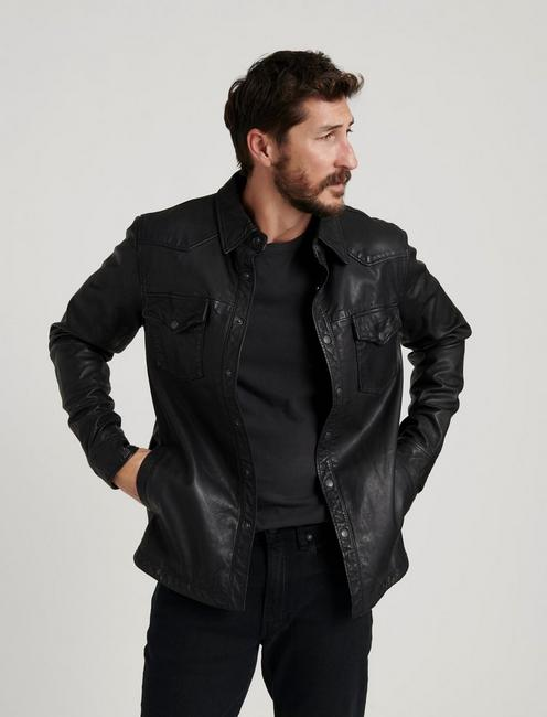 LEATHER WESTERN SHIRT JACKET, #001 BLACK