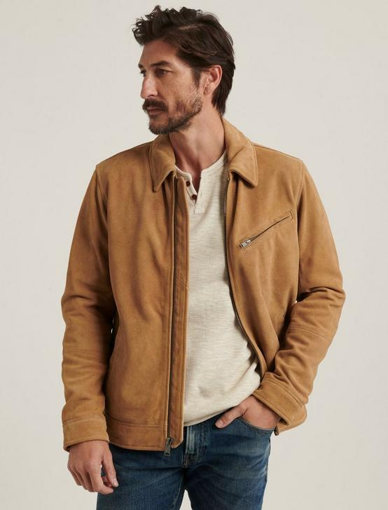SUEDE RIDING JACKET, TOASTED COCONUT, productTileDesktop