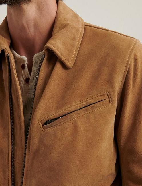 SUEDE RIDING JACKET, TOASTED COCONUT