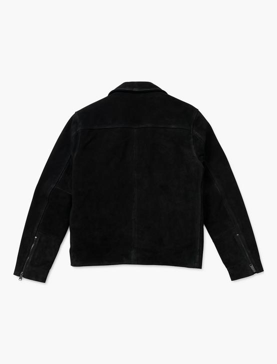 SUEDE ASYMMETRICAL JACKET, BLACK, productTileDesktop