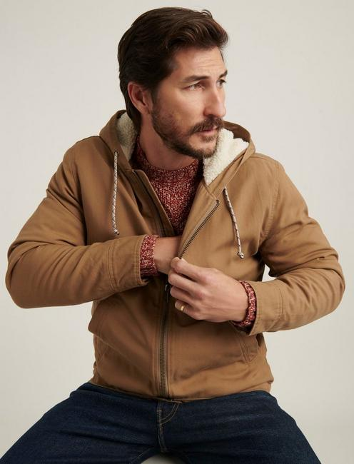 CANVAS HOODED JACKET WITH SHERPA LINING, ERMINE