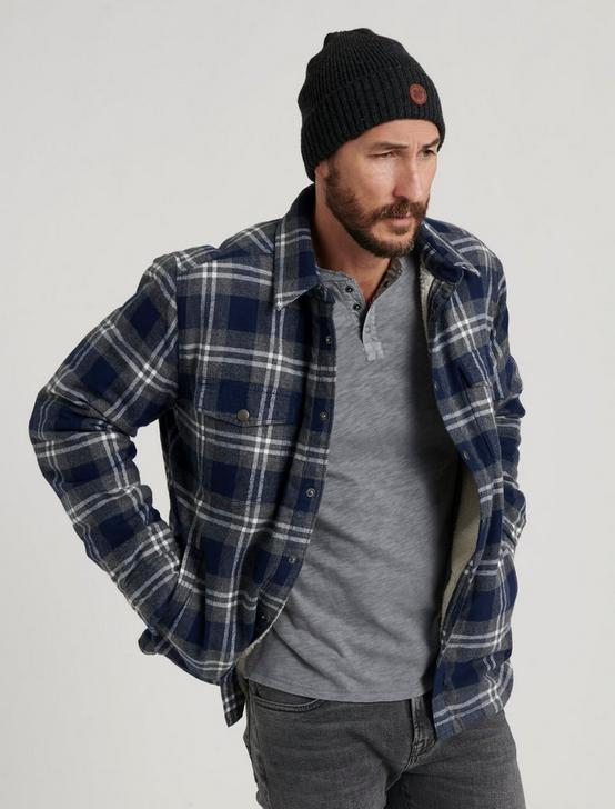 SHERPA LINED OVER SHIRT, GREY/BLUE PLAID, productTileDesktop