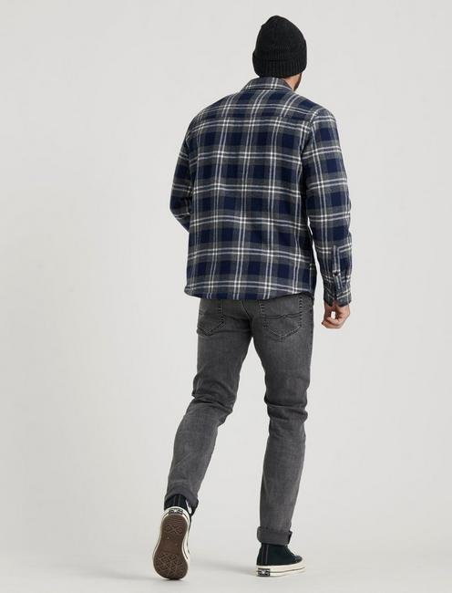 SHERPA LINED OVER SHIRT, GREY/BLUE PLAID