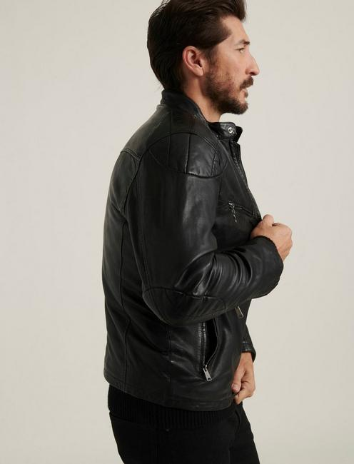 VINCENT LEATHER JACKET, #001 BLACK
