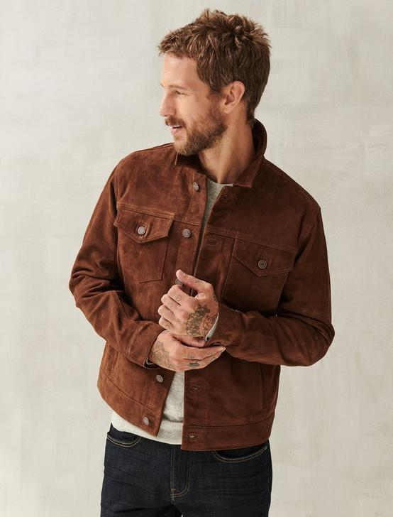 SUEDE TRUCKER JACKET, DARK CHESTNUT, productTileDesktop