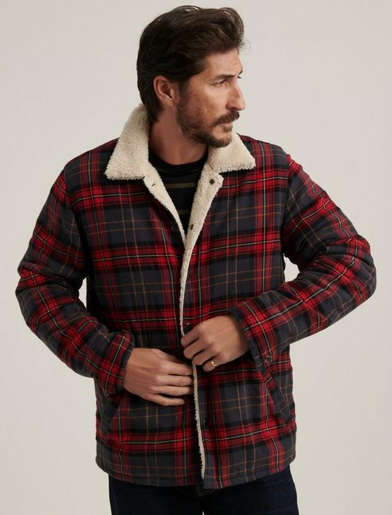 REVERSIBLE SHERPA PLAID JACKET, RED PLAID, productTileDesktop