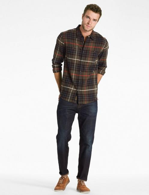Saturday Stretch Workwear Shirt, OLIVE/BROWN