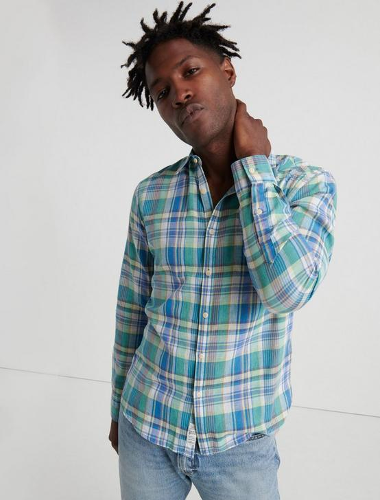 MADRAS PLAID SHIRT, BLUE GREEN, productTileDesktop