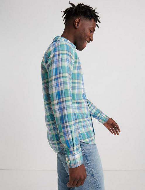 MADRAS PLAID SHIRT, BLUE GREEN