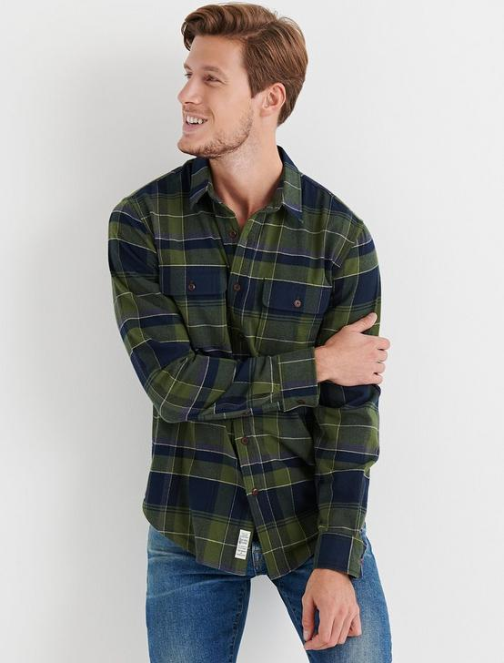 STRETCH WORKWEAR SHIRT, GREEN PLAID, productTileDesktop