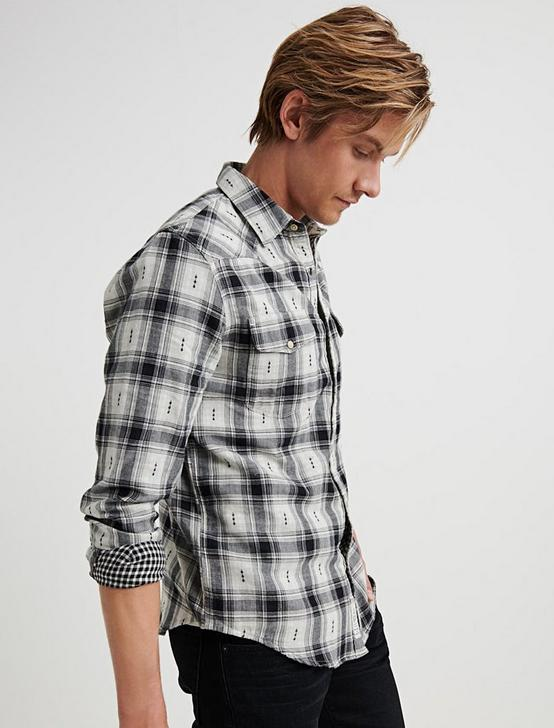DOBBY PLAID WESTERN SHIRT, BLACK PLAID, productTileDesktop
