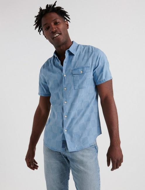 SLIM FIT JACQUARD CHECK ONE POCKET SHIRT,