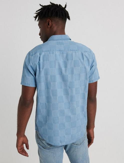 SLIM FIT JACQUARD CHECK ONE POCKET SHIRT, INDIGO JACQUARD