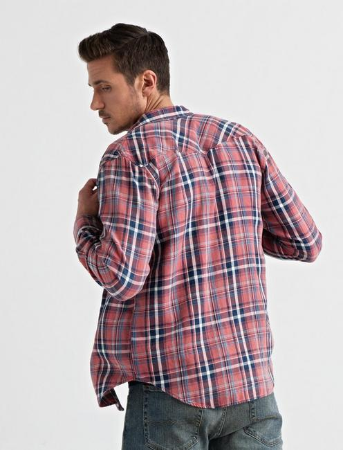 LONG SLEEVE SANTA FE WESTERN SHIRT, RED PLAID