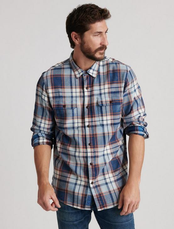 INDIGO CAMP TWILL SHIRT, INDIGO / ORANGE, productTileDesktop