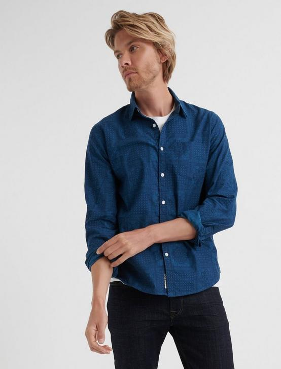 SLIM FIT INDIGO PATTERN ONE POCKET SHIRT, AVY, productTileDesktop