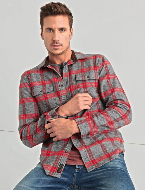 Two Pocket Workwear Shirt, GREY/RED
