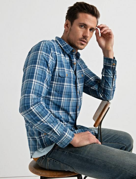 Clean 2 Pocket Workwear, BLUE PLAID, productTileDesktop