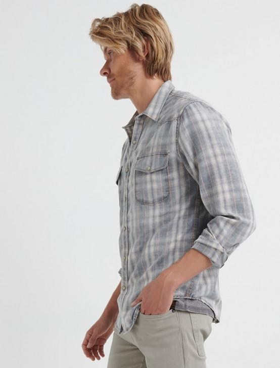 SATURDAY STRETCH FLANNEL WESTERN SHIRT, WASHED BLACK, productTileDesktop