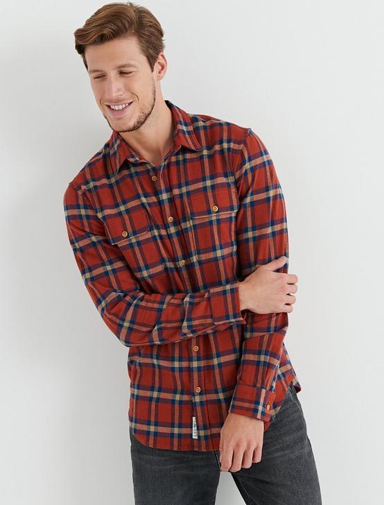 Long Sleeve Clean Two Pocket Work Wear Shirt, ORANGE PLAID, productTileDesktop