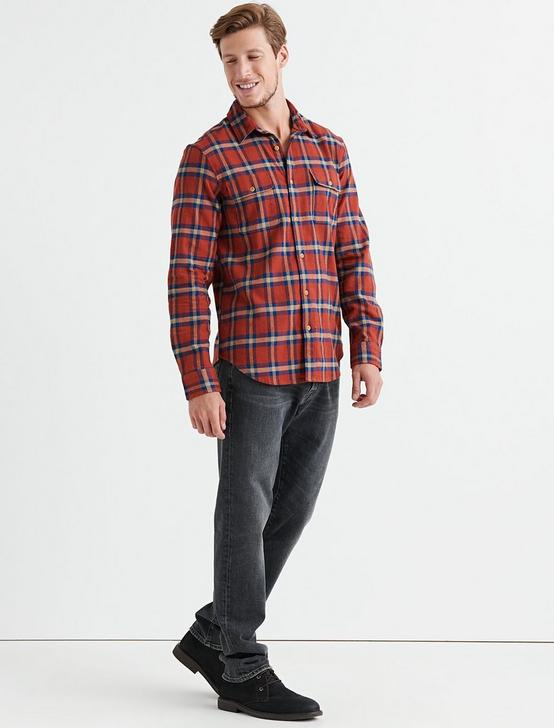 Long Sleeve Clean Two Pocket Work Wear Shirt, ORANGE PLAID, productTileDesktop