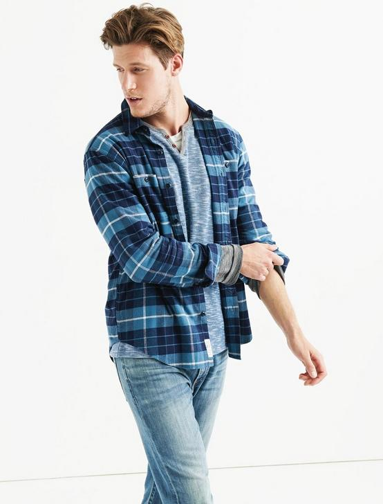 STRETCH MASON WORKWEAR SHIRT, BLUE PLAID, productTileDesktop