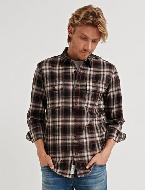 STRETCH WORKWEAR SHIRT, BLACK PLAID
