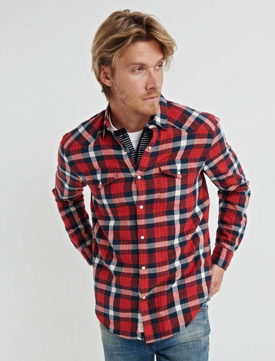 LONG SLEEVE SANTA FE WESTERN SHIRT, RED PLAID, productTileDesktop