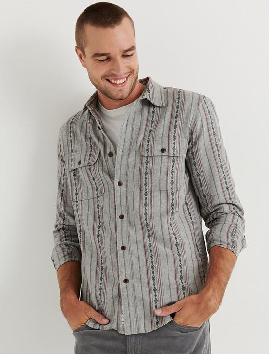 Dobby Workwear Shirt, GREY STRIPE, productTileDesktop