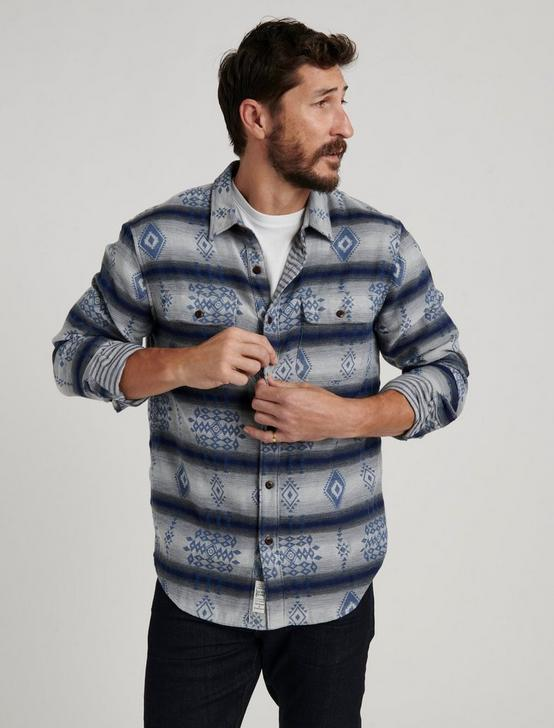 DOUBLEWEAVE SILVER CITY SHIRT, BLUE JAQUARD, productTileDesktop
