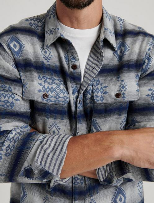 DOUBLEWEAVE SILVER CITY SHIRT, BLUE JAQUARD