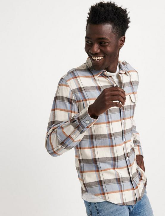 SATURDAY STRETCH SLIM LIGHTWEIGHT FLANNEL, BLUE PLAID, productTileDesktop