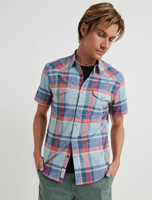 SATURDAY STRETCH WESTERN SHIRT, RED/BLUE PLAID