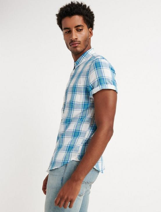 DIEGO PLAID LINEN SHIRT, BLUE PLAID, productTileDesktop