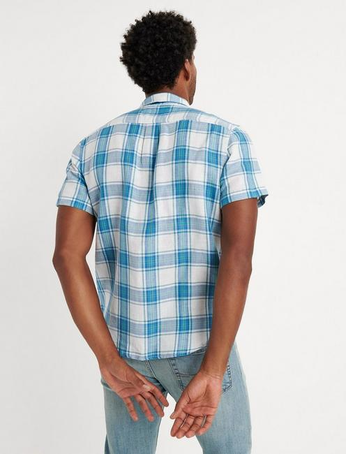 DIEGO PLAID LINEN SHIRT, BLUE PLAID