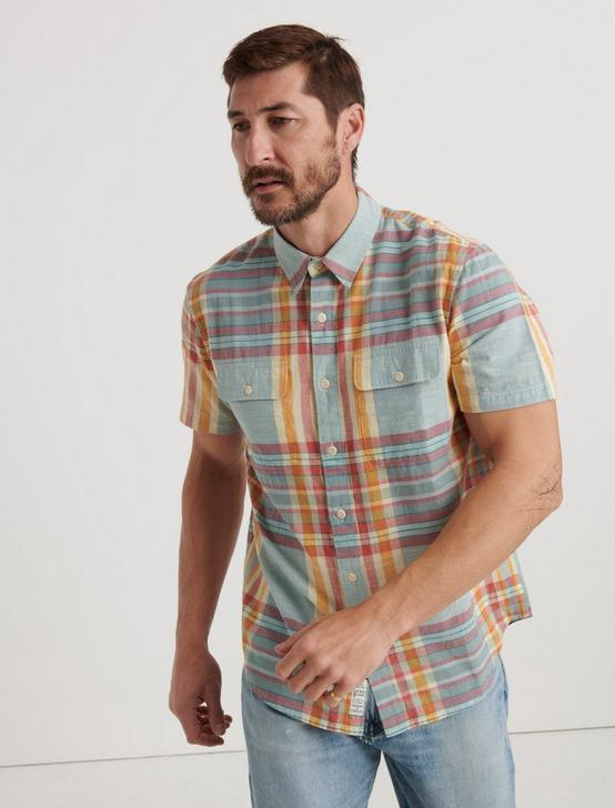MADRAS PLAID SHIRT, BLUE/ORANGE, productTileDesktop