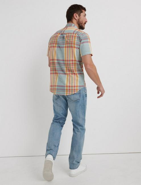 MADRAS PLAID SHIRT, BLUE/ORANGE